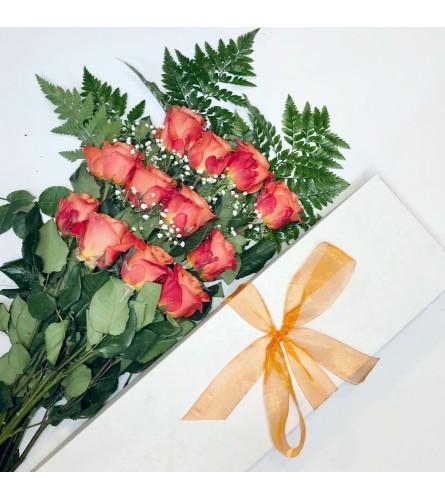Dozen Boxed Orange Roses
