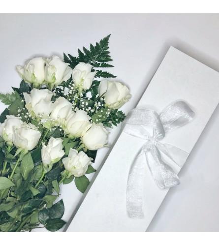 One Dozen White Roses Boxed