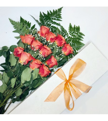 One Dozen Orange Roses Boxed