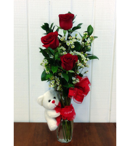 Sweet Embrace Triple Rose Bud Vase