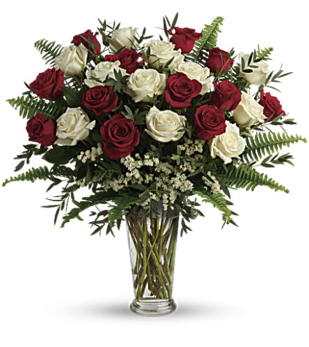 2 Dozen Premium Red and White Roses