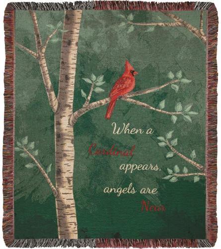 "Afghan ""When a Cardinal Appears"" Throw Blanket"