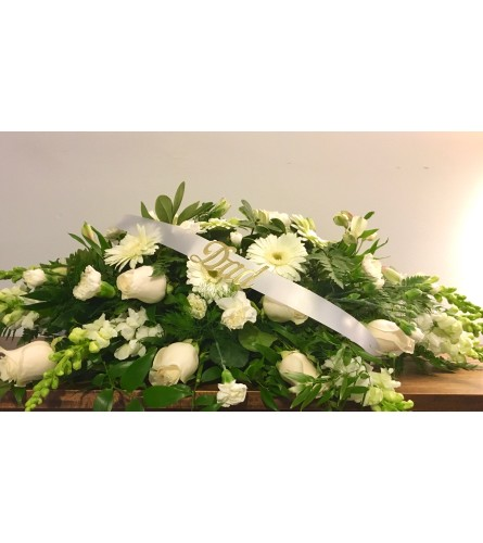 White daisy casket spray