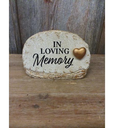Statue 'In Loving Memory' (w/ gold heart)