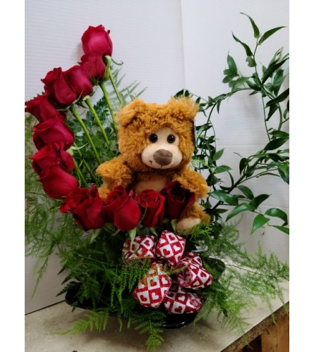 Red Roses Staircase with bear