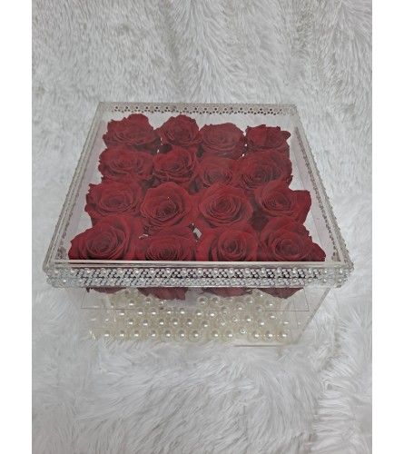 Preserved Red Roses Acrylic Box