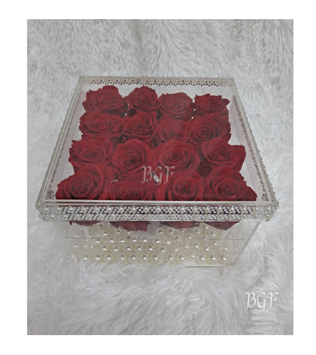 Preserved Glam Red Roses in Acrylic