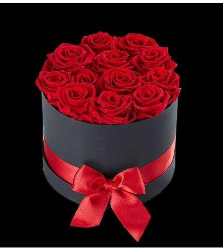 12 Preserved Red Roses in Black Box