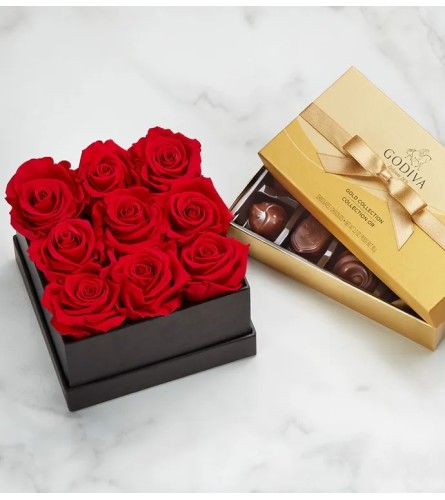 9 Preserved Red Roses in Black Box with Chocolates