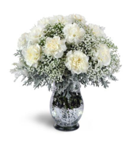 white carnation vase arrangement