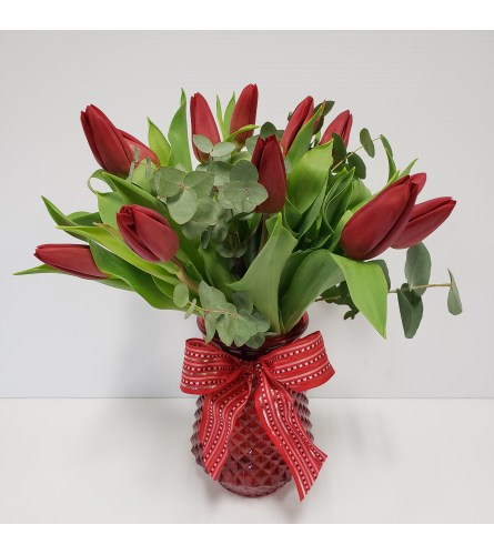 12 Red Tulips in a vase