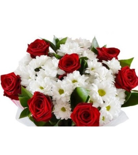 Red Roses & White Accent Flowers