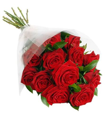 Dozen red roses wrapped in cellophane