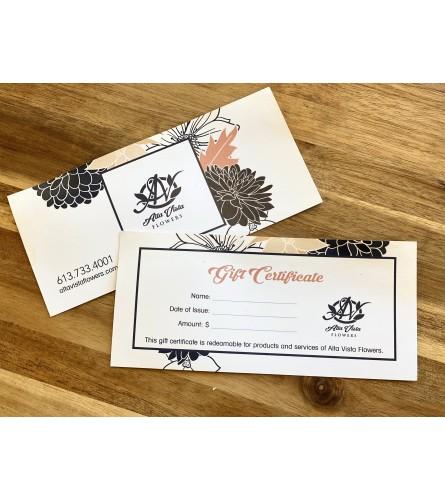 Alta Vista Flowers Gift Certificate