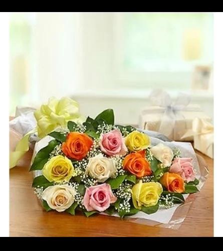 Dozen Mixed roses wrapped