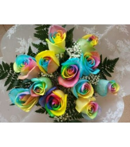 Dozen Rainbow Roses - Wrapped in cello