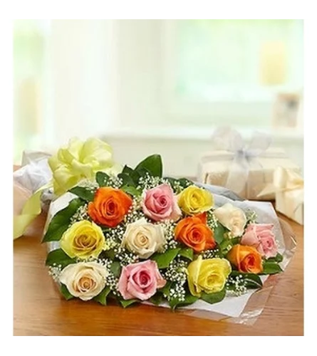12 Mixed colour roses wrapped