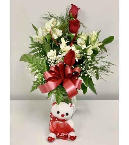Valentine's Day Floral Arrangement + Teddy