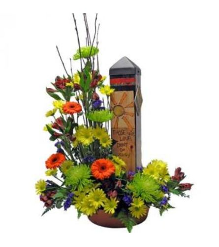 GARDEN ART POLE IN FRESH FLOWERS