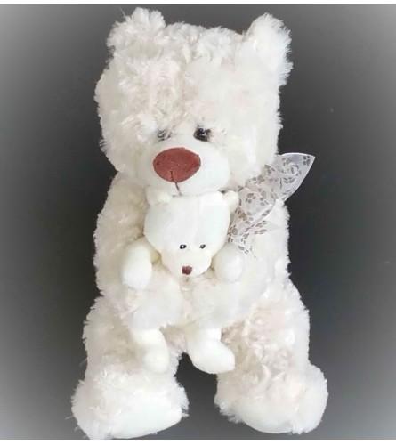 Plush Bear with Baby - Cream
