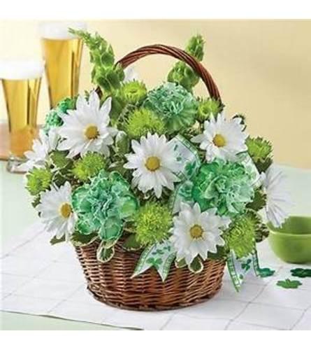 St Patrick's Day Basket O' Flowers