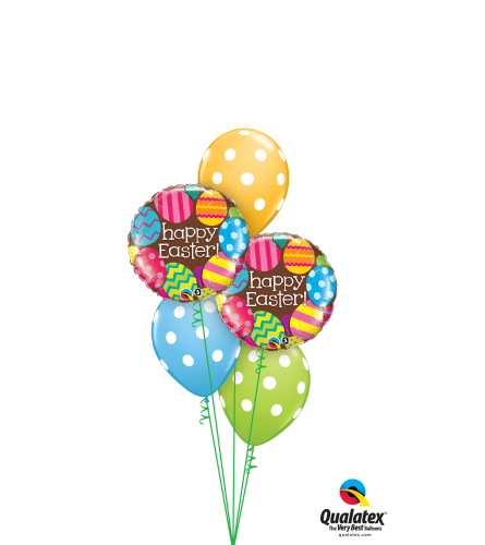 Happy Easter Polka Dots Classic Balloon Bouquet