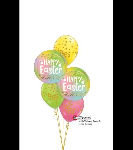 Happy Easter Ombre Classic Confetti Balloon Bouquet