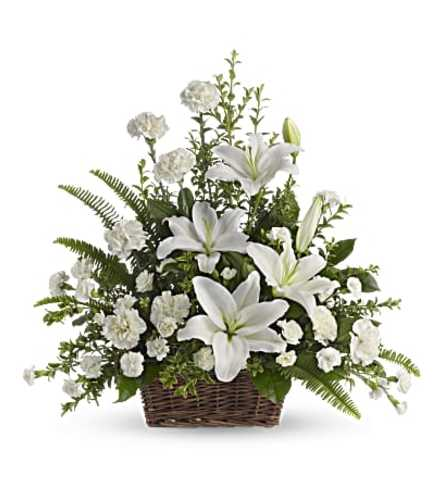Peaceful Lilies Basket in White