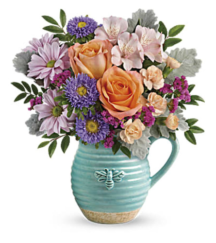 Busy Bee Blue Pitcher Bouquet