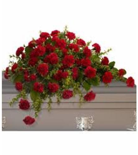 teleflora red carnation casket spray