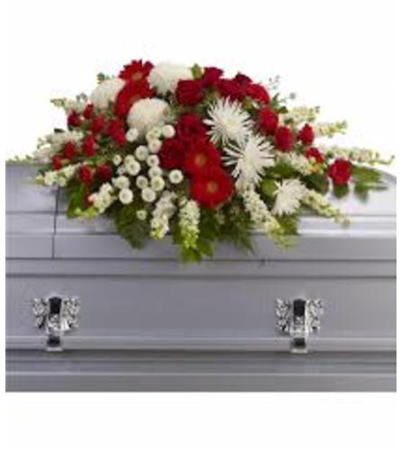 teleflora red and white casket spray
