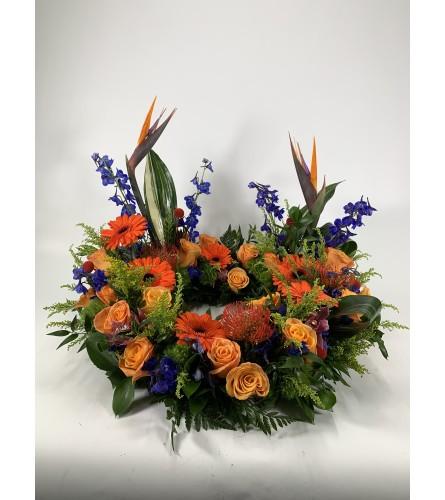 Tropical urn wreath