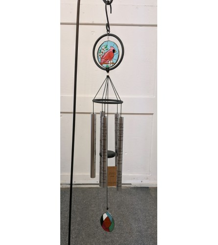"""38"""" Stain Glass Cardinal Wind Chime"""
