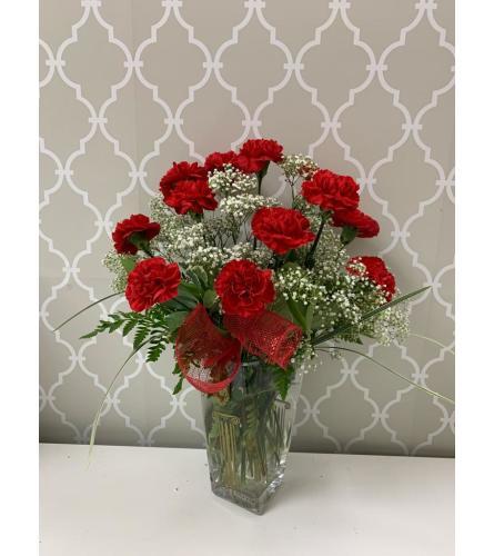 Lovely Red Carnation Arrangement in Polish Vase