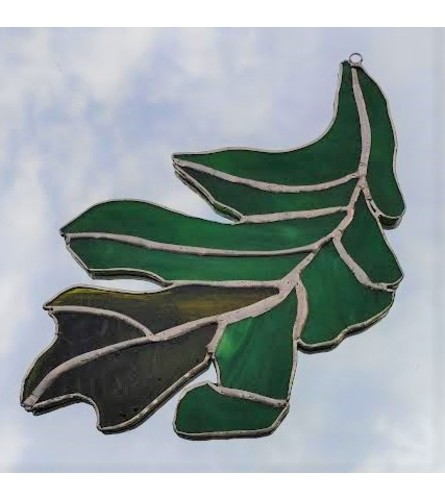 Locally Made Stained Glass Leaf