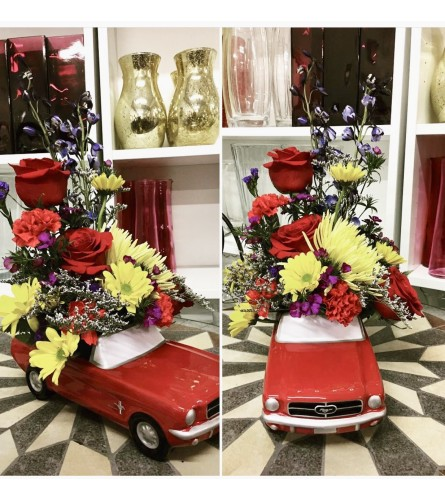 1965 Ford Mustang Red Convertible Car By Dynamic Flowers
