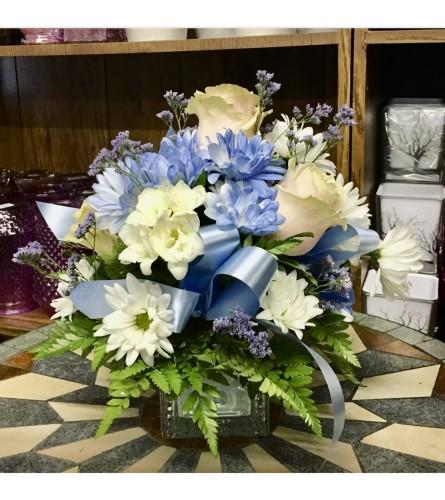 Baby Boy Cube ABC Vase By Dynamic Flowers