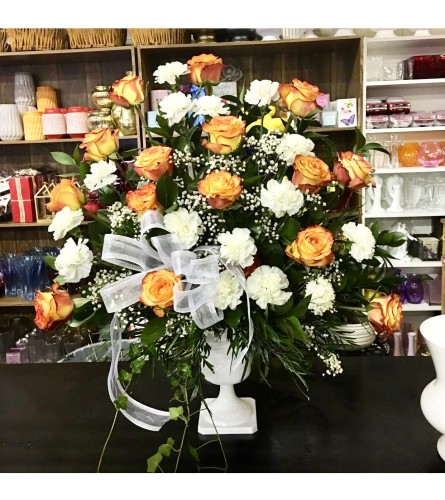 Orange And White By Dynamic Flowers