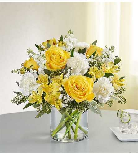 Yellow and white delight arrangement