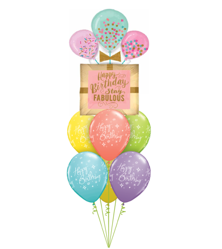 Happy Birthday Stay Fabulous Awesome Balloon Bouquet