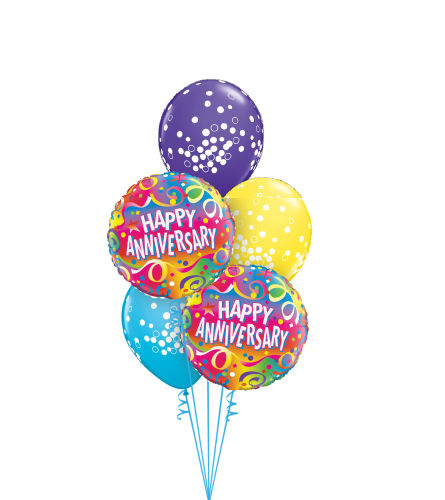 Happy Anniversary Colourful Classic Balloon Bouquet