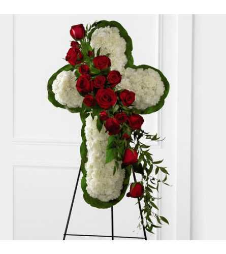 Red and White Floral Standing Cross