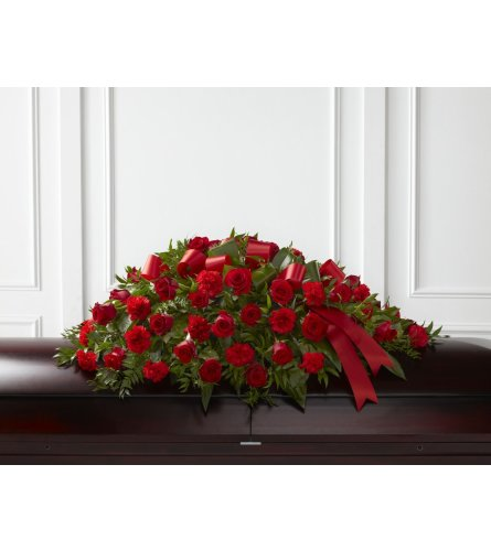 Dearly Departed Casket Spray in Red