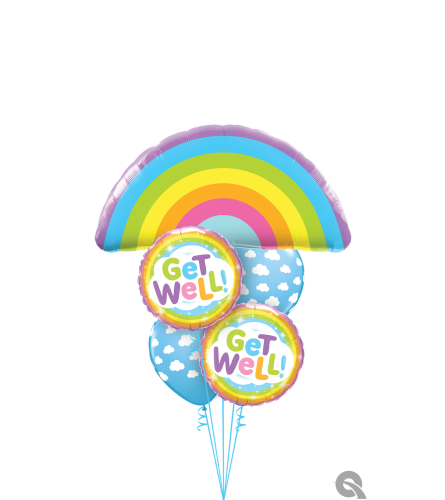 A Rainbow of Get Well Wishes Cheerful Balloon Bouquet