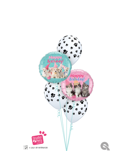 Birthday Kitties & Puppies Oh My! Classic Balloon Bouquet