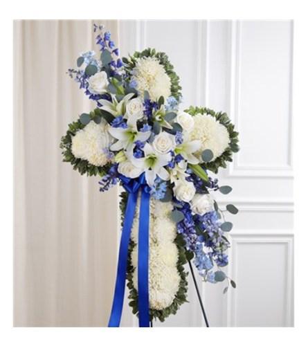 Peace & Prayers™ Blue & White Standing Cross