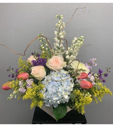 Spring box of wildflowers