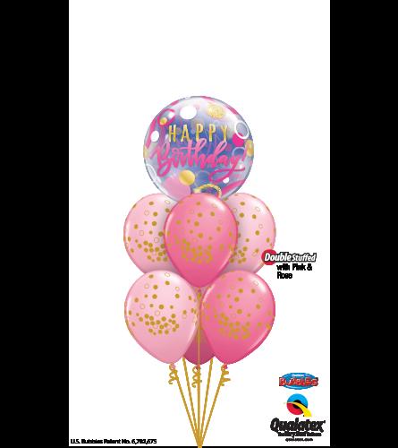Pink 'N' Gold Birthday Fun Bubble Balloon Bouquet