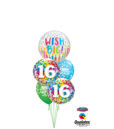 Wish Big 16th Birthday Cheerful Bubble Balloon Bouquet
