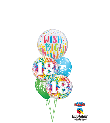 Wish Big 18th Birthday Cheerful Bubble Balloon Bouquet